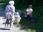 Building a fire under the steamer - Making miso - Gaijin Farmer